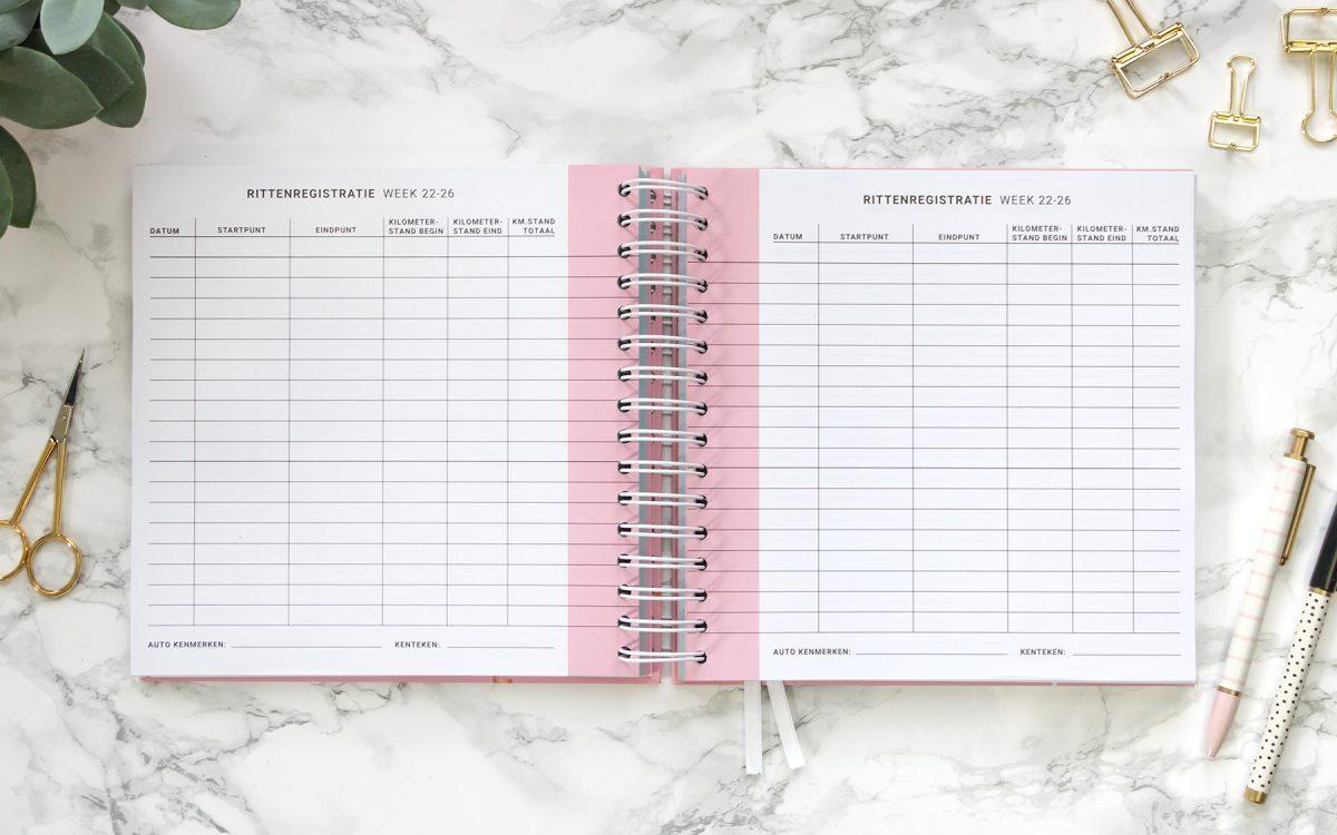 Flow Planners rittenregistratie roze