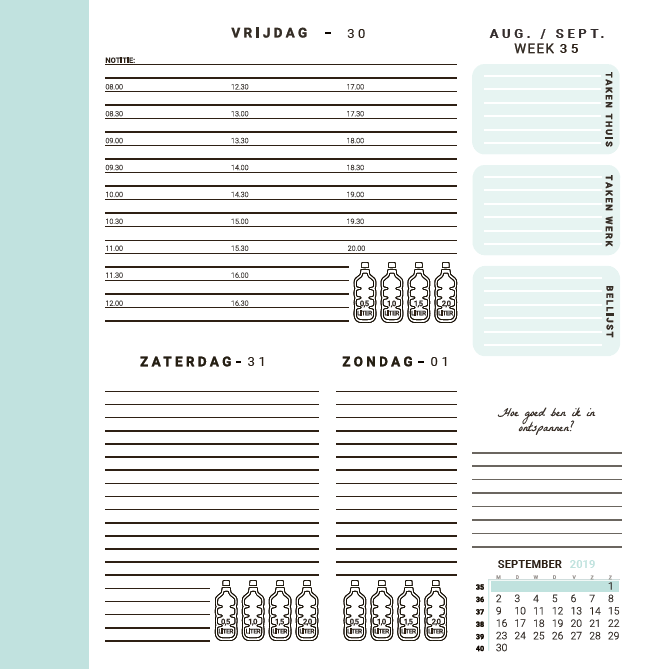 Flow Planners - Weekindeling - Mint