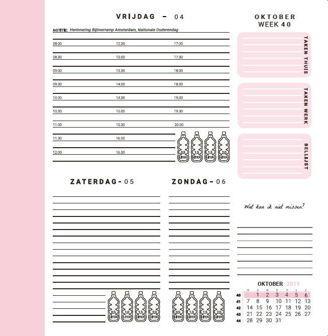 Flow Planners - Weekindeling - Roze