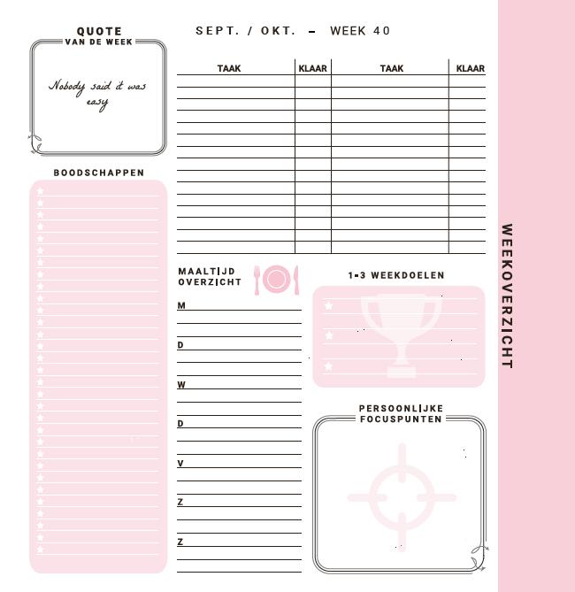 Flow Planners - Weekoverzicht - Roze
